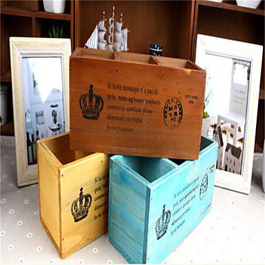 Retro Old Wood Desktop Cosmetic Storage Box Wooden Pen Remote Storage Box