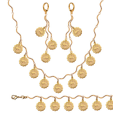 Jewelry Set Vintage Cute Party Work Casual Link/Chain Gold Plated Bracelet Necklace Ring