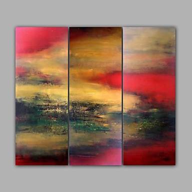 Pintados à mão Paisagem Horizontal,Moderno 3 Painéis Tela Pintura a Óleo For Decoração para casa