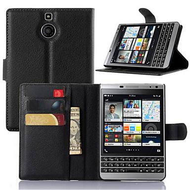 Etui Til Blackberry Etui Blackberry Kortholder / med stativ / Flipp Heldekkende etui Ensfarget Hard PU Leather til