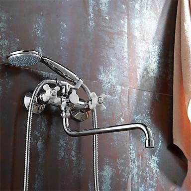 Contemporâneo Montagem de Parede Chuveiro de Mão Incluído / Rotativo with  Válvula Cerâmica Duas alças de dois furos for  Cromado ,