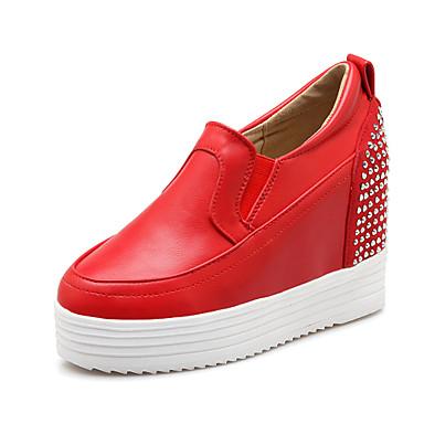 Női Cipő Bőrutánzat Tavasz Ősz Ék sarkú Glitter Kompatibilitás Ruha Fehér Fekete Piros