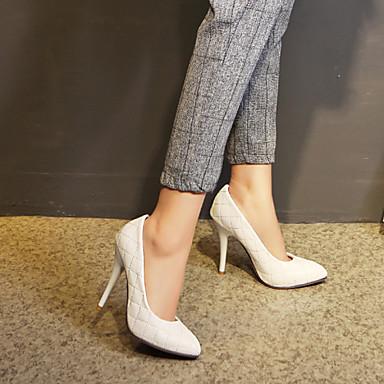 Feminino Sapatos Courino Primavera Verão Outono Salto Agulha Para Casual Social Branco Preto