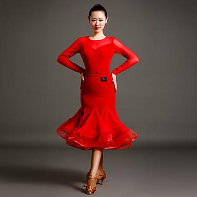 Női - Latin tánc - Felszerelések ( Fekete / Piros , Sifon / Tüll / Bársony , Fodrozott )