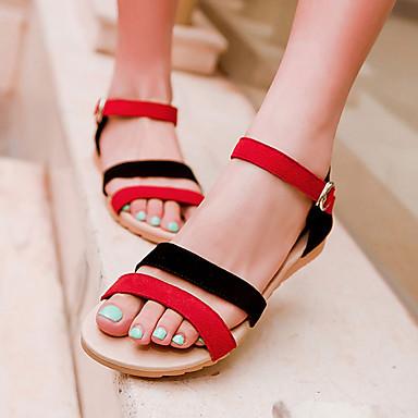 Mulheres Sapatos Camurça Primavera Verão Salto Plataforma Combinação para Casual Ao ar livre Social Preto Roxo Preto/Vermelho