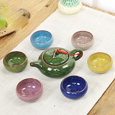 7 seramik çay seti set mor kum demlik çay fincanı çay hediye renkli buz çatlak sır çatlakları (1 adet çay potu, 6pcs bardak)