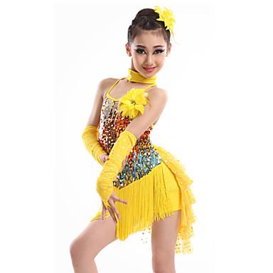 Latin Dance Dresses Children's Performance Spandex Sequined Milk Fiber Tassel(s) 4 Pieces Dress Gloves Neckwear