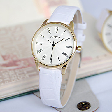 Mulheres Relógio de Moda Quartzo Couro Banda Luxuoso Preta Branco Marrom