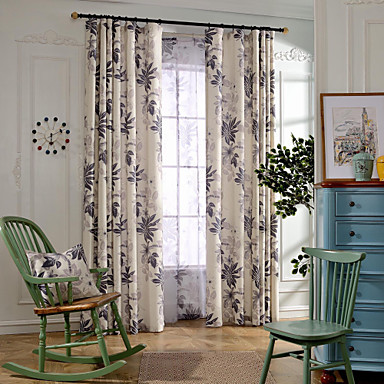 Two Panels Country Leaf Bedroom Linen&Polyester Blend Blackout Curtains Drapes