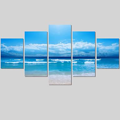 Tela de impressão Paisagem Moderno 5 Painéis Horizontal Decoração de Parede Decoração para casa