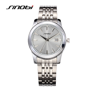 SINOBI Men's Wrist watch Calendar Water Resistant / Water Proof Sport Watch Quartz Alloy Band Silver
