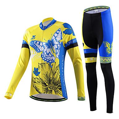 cheji® בגדי ריקוד נשים שרוול ארוך חולצה וטייץ לרכיבה אופניים ג'רזי מדים בסטים, ייבוש מהיר, עמיד אולטרה סגול, נושם, תומך זיעה, 3D לוח