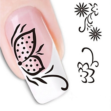 1 Water Transfer Sticker 3D Nail Stickers Flower Abstract Fashion Daily High Quality