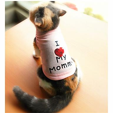 고양이 / 개 티셔츠 화이트 / 핑크 강아지 의류 여름 문자와 숫자 패션