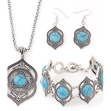 Women's Jewelry Set Luxury European Party Birthday Engagement Gift Daily Casual Resin Turquoise Alloy Earrings Necklaces Bracelets &