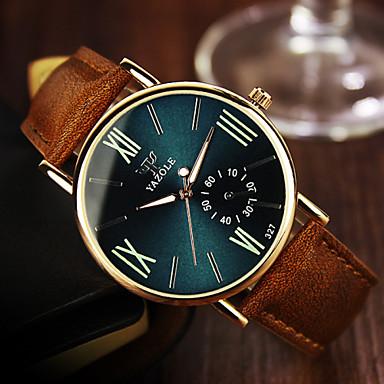 YAZOLE 남성용 손목 시계 석영 캐쥬얼 시계 가죽 밴드 캐쥬얼 브라운