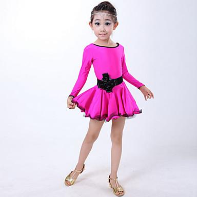 Dječji-Haljine- zaLatin Dance(Crn / Fuksija / Crvena,Spandex,Volani)