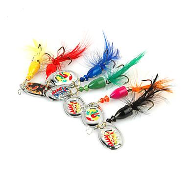 6 pcs Sluk Spinnere / Metall Agn Metall Spinne / Ferskvannsfiskere / Bass Fiske / Lokke Fiske / Generelt fisking