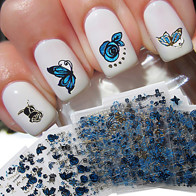 24 pcs Mote 3D Nail Stickers Smuk Daglig