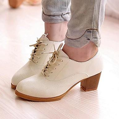 Mulheres Sapatos Courino Primavera / Verão / Outono Conforto Salto Robusto Cadarço Preto / Bege / Marron