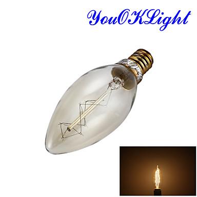 YouOKLight 250 lm E14 Lâmpada Redonda LED B 1 leds COB Decorativa Branco Quente AC 220-240V