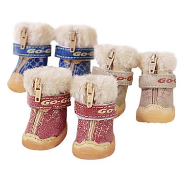 Cachorro Sapatos e Botas Botas de Neve Fashion Marron Vermelho Azul Para animais de estimação