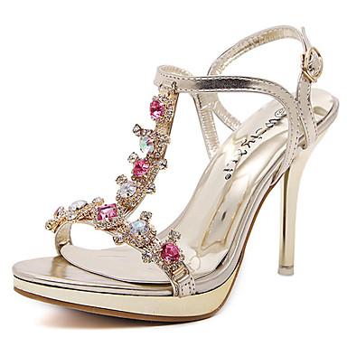 נשים נעליים דמוי עור קיץ עקב סטילטו פלטפורמה פאייטים עבור שמלה מסיבה וערב מוזהב