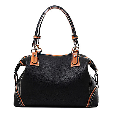 Women Bags PU Shoulder Bag Tote Satchel for Shopping Casual Formal Office & Career All Seasons Black Red