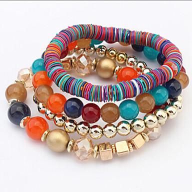Perlenbesetzt Mehrschichtig Stapel Strang-Armbänder - Einzigartiges Design, Retro, Party Armbänder Weiß / Regenbogen Für Party Geschenk Valentinstag