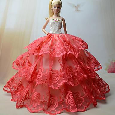 מסיבה/ערב שמלות ל ברבי דול תחרה אורגנזה שמלה ל הילדה של בובת צעצוע