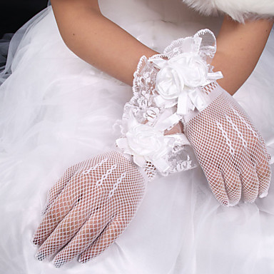Net / Elastic Satin / Polyester Wrist Length Glove Classical / Bridal Gloves With Solid