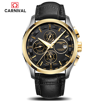 Carnival Masculino Relógio de Moda Automático - da corda automáticamente Couro Banda Preta