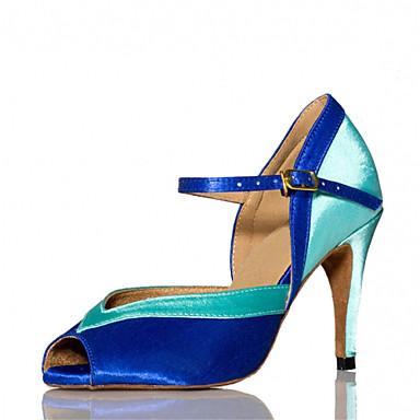 baratos Shall We® Sapatos de Dança-Mulheres Sapatos de Dança Cetim Sapatos de Dança Latina / Sapatos de Salsa / Sapatos de Samba Presilha Sandália / Salto Salto Personalizado Personalizável Rosa / Azul / Interior / Espetáculo / EU41