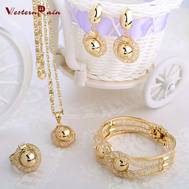 Jewelry Set Vintage Cute Party Work Casual Bangle Alloy Bracelet Necklace Earrings Ring
