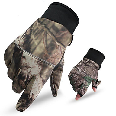 cheap Hunting & Nature-Men's Camo Hunting Gloves Thermal / Warm Anti-Wear Nylon for Camping / Hiking Hunting Climbing