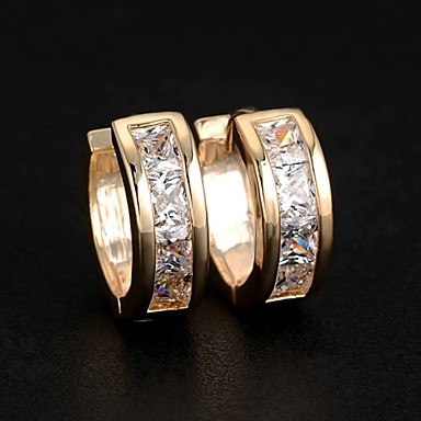 Women's Cubic Zirconia Stud Earrings Hoop Earrings Huggie Earrings Ladies Fashion Elegant Bling Bling Zircon Earrings Jewelry Silver / Golden For Wedding Party Daily Casual Sports Masquerade
