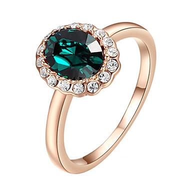 Dame Krystall Syntetisk Smaragd Statement Ring - Fuskediamant, Legering Enkel Stil, Mote En størrelse Lilla / Grønn Til Bryllup Fest
