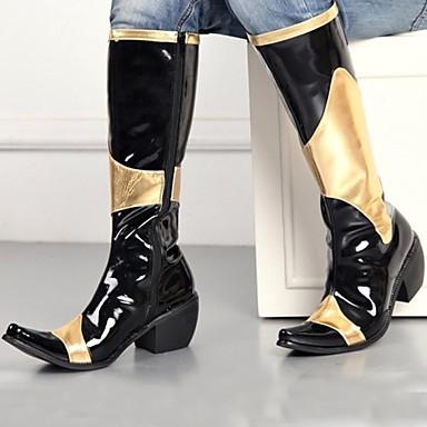 halpa Miesten kengät-Miesten Comfort-kengät Synteettinen Syksy / Talvi Vapaa-aika Bootsit Polvisaappaat Musta / Juhlat / Juhlat / ulko- / Toimisto & ura / Fashion Boots