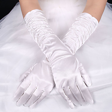 Elastic Satin / Silk Elbow Length Glove Bridal Gloves With Bowknot