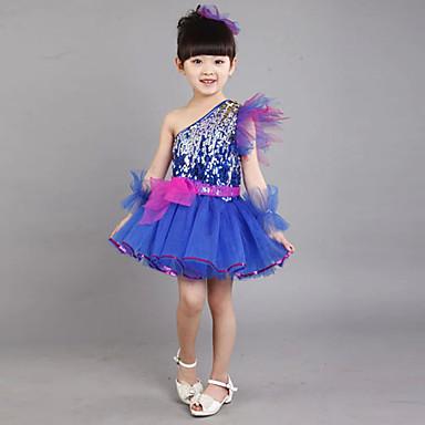 Latein-Tanz Austattungen Kinder Leinen Paillette Ärmellos Kleid Armbänder Kopfbedeckungen