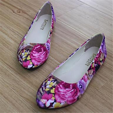 Ženske cipele - Ravne cipele - Ležerne prilike - Umjetna koža - Ravna potpetica - Zaobljene cipele - Zelena / Ljubičasta / Siva
