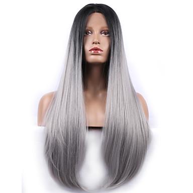 Synteettiset pitsireunan peruukit Suora Harmaa Naisten Lace Front Synteettiset hiukset