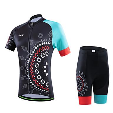 cheji® Naisten Lyhythihainen Pyöräily jersey ja shortsit - Musta Kukat / Kasvit Geometrinen Pyörä Vaatesetit, 3D alusta, Nopea