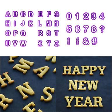 40 stk alfabetbrev nummer fondant silikon kake mold cookie
