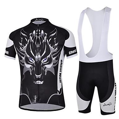 cheji® Muškarci Kratkih rukava Biciklistička majica s kratkim tregericama - Crn Bicikl Bib Shorts Biciklistička majica Kompleti odjeće,