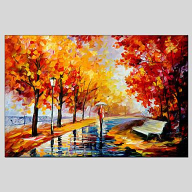Maalattu Abstraktit maisemakuvatModerni / Classic / Realismi / Pastoraali / European Style 1 paneeli Kanvas Hang-Painted öljymaalaus For