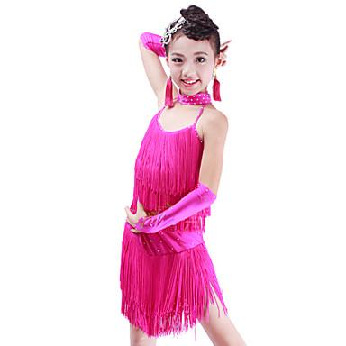 ריקוד לטיני תלבושות בגדי ריקוד ילדים ביצועים ספנדקס 5 חלקים עליון חצאית כפפות Neckwear