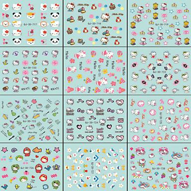 3D Nail Stickers / Half Nail Tips / Full Nail Tips / Other Decorations-PVC-Sarjakuva / Abstrakti / Lovely-Sormi / Varvas-9.8*6.2*0.01CM-10