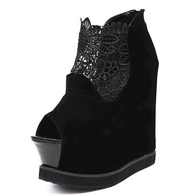 펌프스/힐-웨딩 / 드레스 / 파티/이브닝-여성의 신발-웻지 / 힐 / 플랫폼-레이스-웻지 굽-블랙