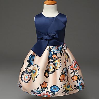 Χαμηλού Κόστους Φορέματα για κορίτσια-Παιδιά Κοριτσίστικα Γλυκός Πάρτι Γενέθλια Φλοράλ Λουλούδι Φιόγκος Στάμπα Αμάνικο Πολυεστέρας Φόρεμα Μπλε